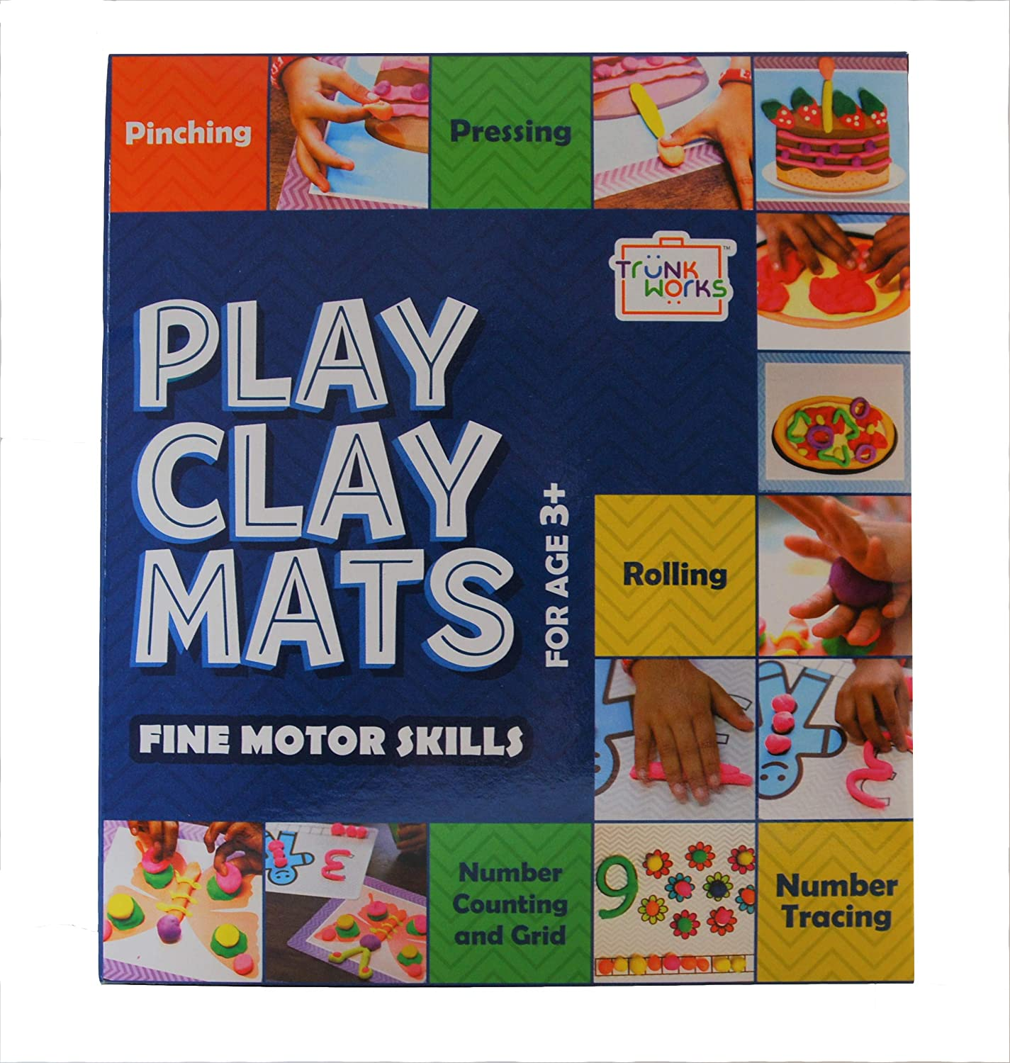 Amazon Com Trunk Works Playclay Mats To Be Played With Clay Or Play Doh Or Play Dough Develops Fine Motor Skills Numbers Imagination And Creativity Unique Creative Prompts Toys Games