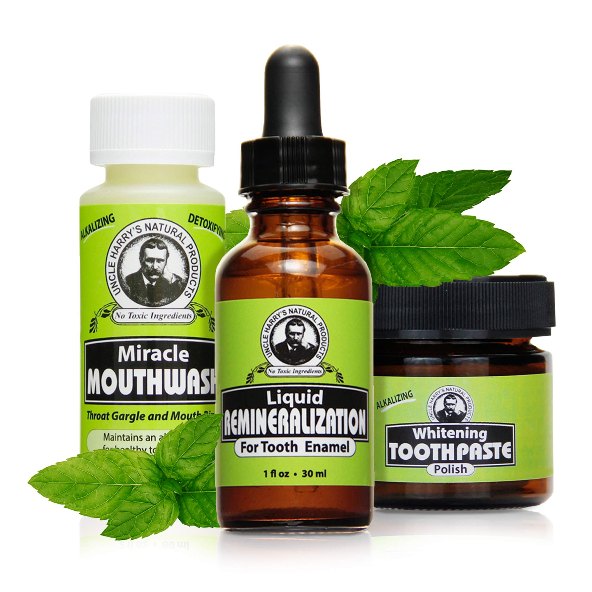 Uncle Harry's Natural Remineralization Kit with Tooth Whitening - 3 Products Strengthen Weak Enamel, Brighten Smile, & Correct Oral Care Issues (1 kit)