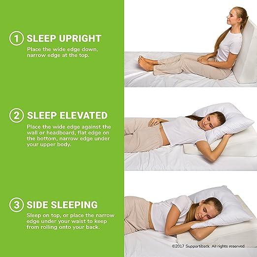 Supportiback® Almohada terapéutica para la cama | Con espuma de memoria y funda lavable, diseñada por médicos para el dolor de espalda y cuello, mejor ...