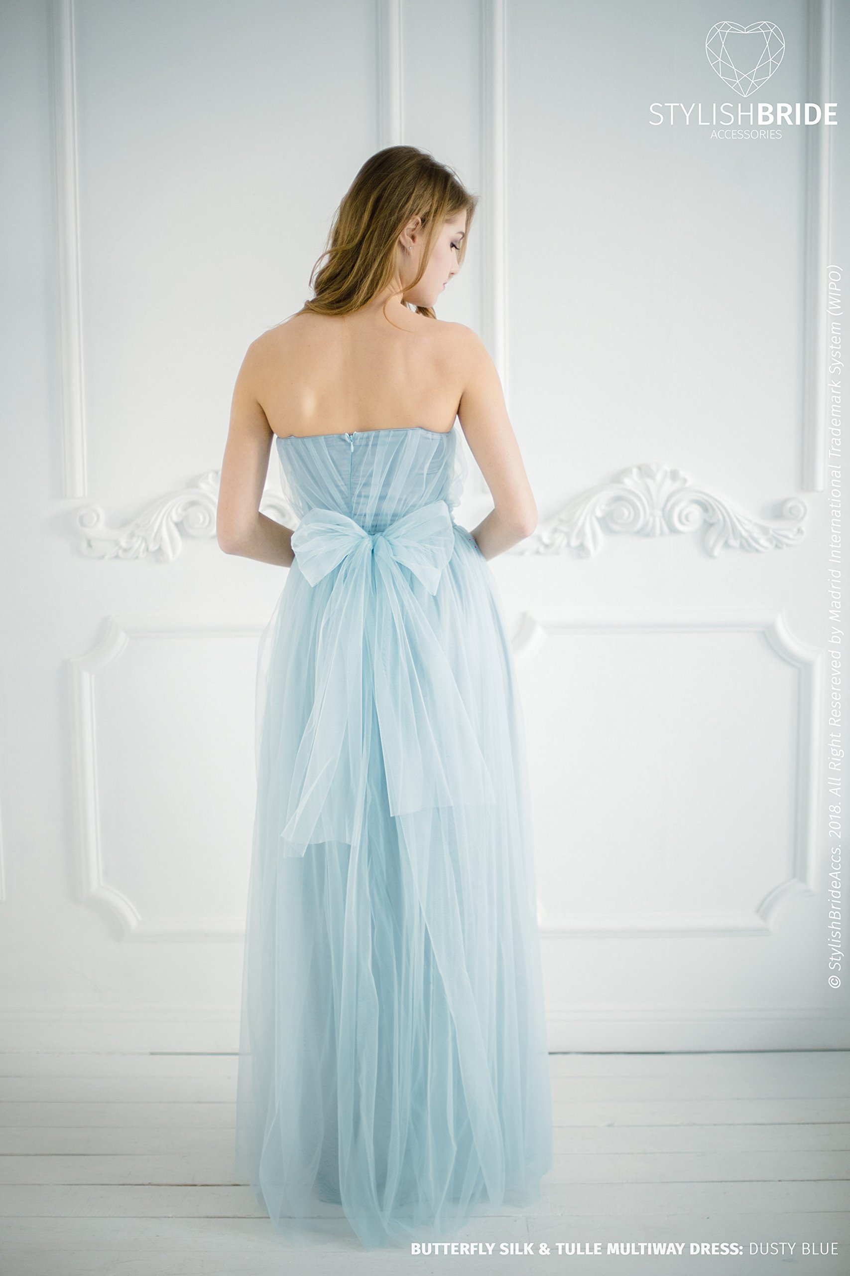 BF3 Butterfly Convertible Dusty Blue Bridesmaid Dress with bows on the waistband , Formal Dress Floor Length, Dusty Blue Wedding Dress
