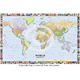 MAP OF THE WORLD LP 200 WITH FLAGS HUGE LAMINATED / ENCAPSULATED POSTER Measures 36 x 24 inches (91.5 x 61 cm))