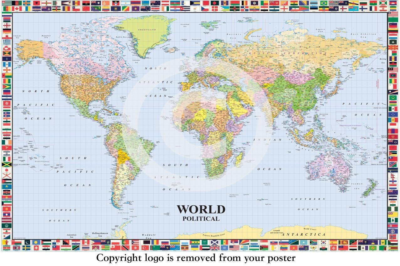 Map of the world lp 200 with flags huge laminated encapsulated map of the world lp 200 with flags huge laminated encapsulated poster measures 36 x 24 inches 915 x 61 cm amazon kitchen home gumiabroncs