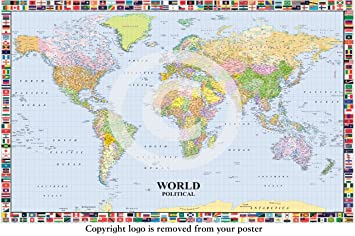 MAP OF THE WORLD LP 200 WITH FLAGS HUGE LAMINATED  ENCAPSULATED