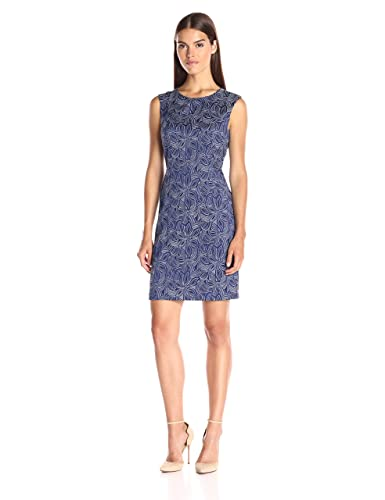 Tommy Hilfiger Women's Sleeveless Island Floral Jacquard Sheath W. Exposed Zip