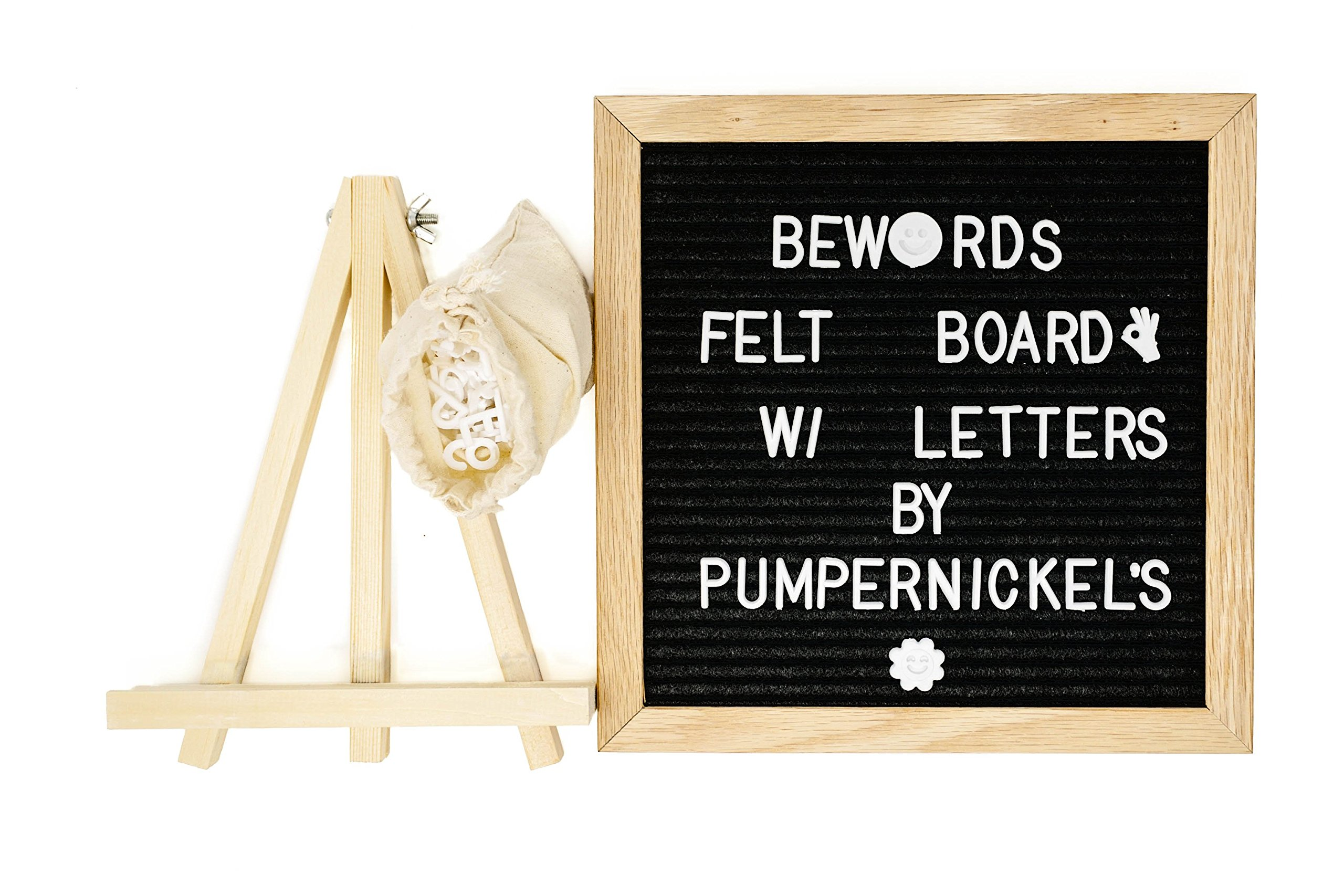 Bewords Changeable Letter Board 10 x 10 with Felt Board Letters, Mounting Hook, Easel Stand - Letter Board Sign in Black - Felt Letter Board Set for Home Business Marketing