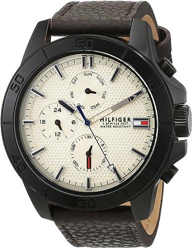 Relógio Tommy Hilfiger para homem de pulso de couro de quartzo analógico modelo 1791164