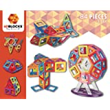 4DBlocks - Play it , Love it! - Magnetic Building Block Set – 84 Pieces 2.52inch– Promotes Creativity, Imagination & Brain Development–The Best Combination Of Recreation & Education For Children