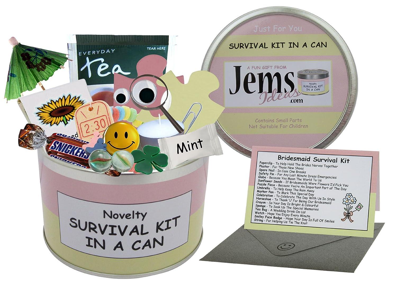Dama de honor Kit de supervivencia en una lata. Humor regalo – boda Día Gracias presente y tarjeta todo en uno. Regalos para Ella/Regalos para Mujeres a favor/favor.