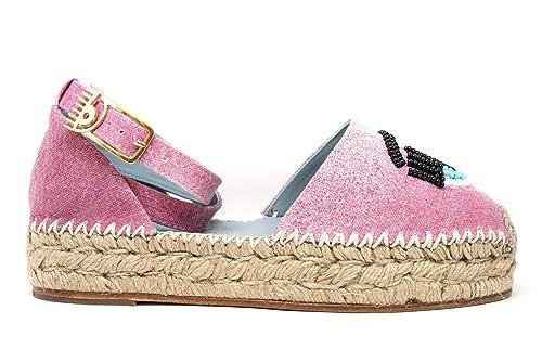 best online high quality discount shop Chiara Ferragni Women's CF1576PINK Pink Leather Espadrilles ...