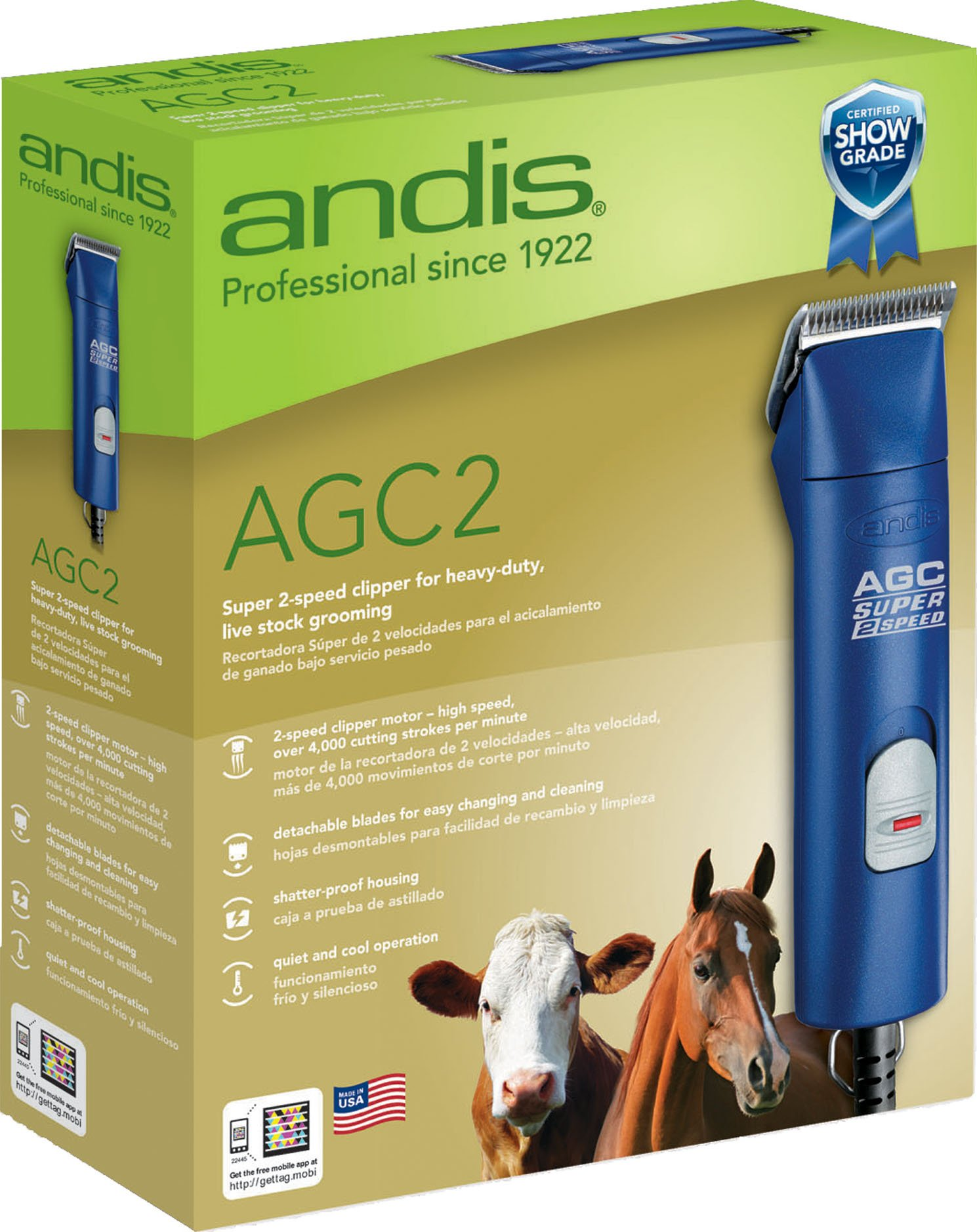 ANDIS Company Equine Agc2 Super 2-Speed Horse Clipper Blue 3400/4400 SPM by Andis