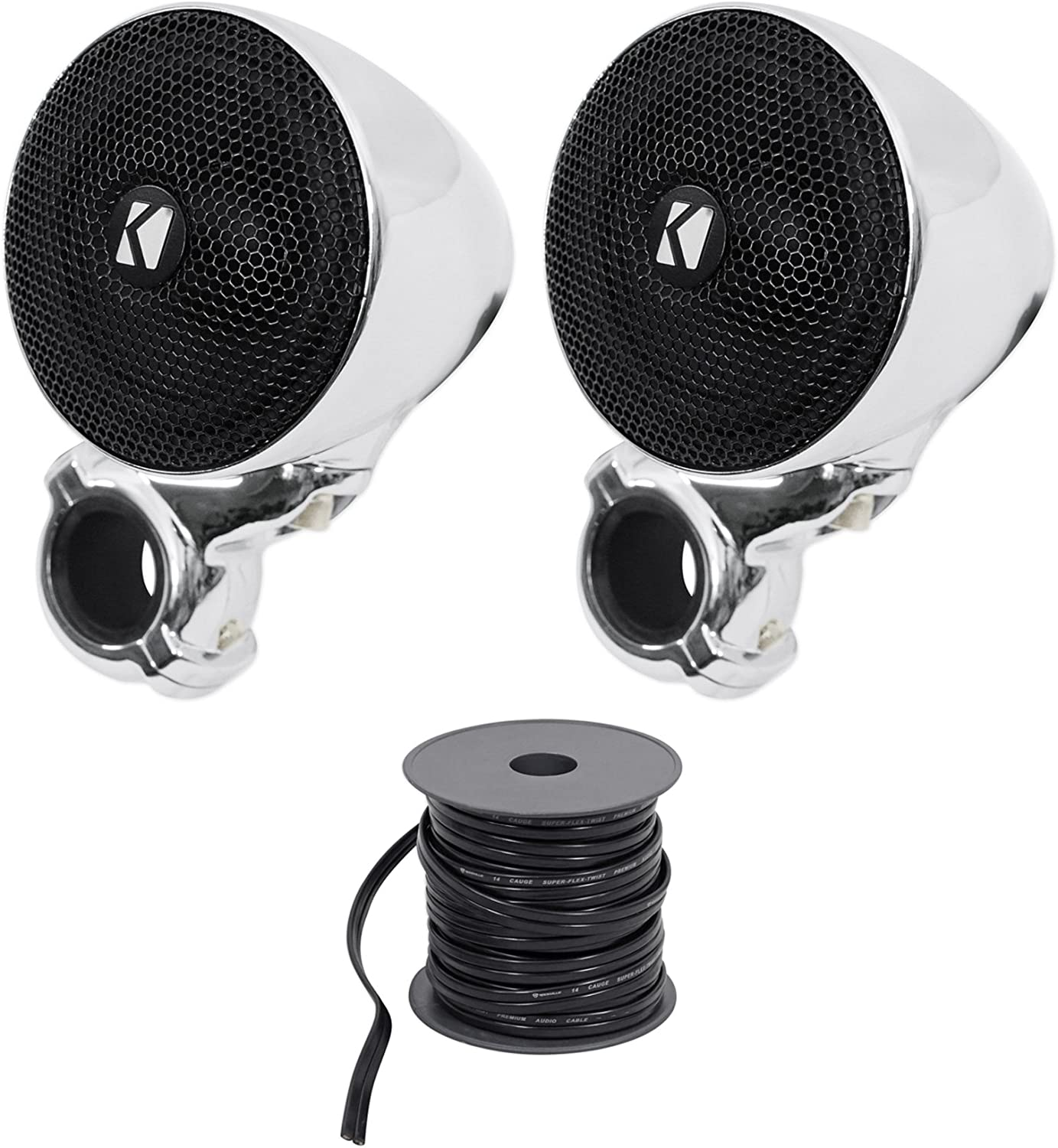 (2) Kicker 40PSM32 PSM3 Waterproof Motorcycle/ATV Handlebar Speakers+Marine Wire 81SB823KW-LSL1500_