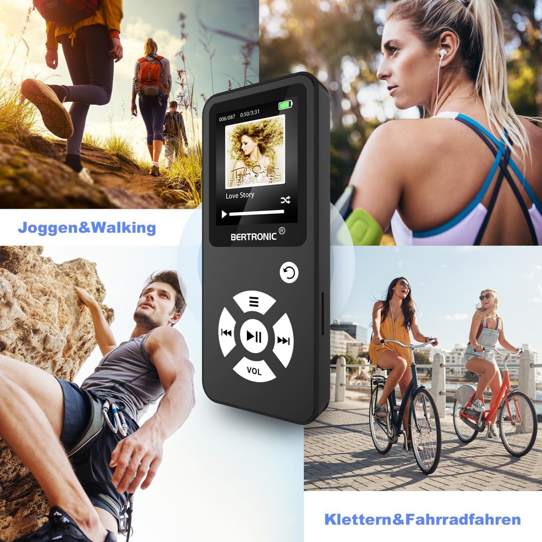 Altavoz Ampliable a hasta 128 GB con Tarjeta de Memoria microSD 16 GB 100 Horas de reproducci/ón de Audio pod/ómetro BERTRONIC Made in Germany Reproductor de MP3 BC01