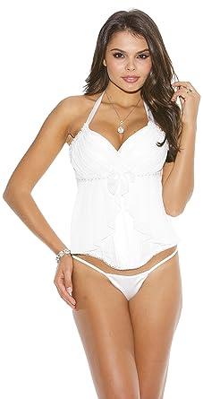 c30932d0e3 Padded Corset Top w Mesh Pleated Flirty Skirt Design  amp  G-String White