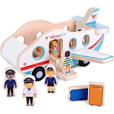 Imagination Generation WondAir Passenger Jet Playset | Wooden Airplane Children's Toy with Passengers, Pilots, Cabin Crew, & Luggage Accessories (11 pcs.): Toys & Games