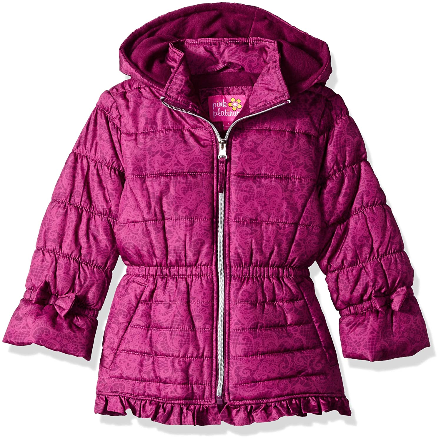 Pink Platinum Girls Lace Puffer Ruffle
