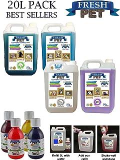 Paquete con 4 botes de 5 L de desinfectante, limpiador y ambientador Fresh Pet para