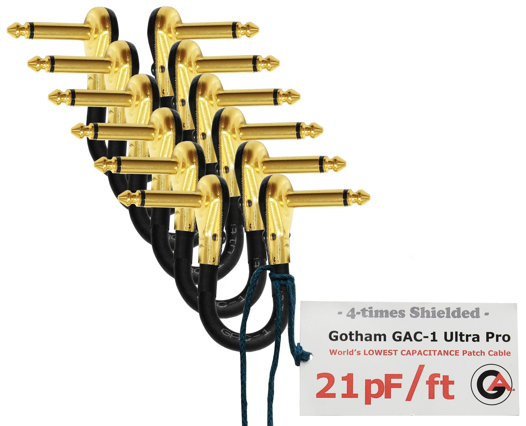 6 Units - 5 Inch - Gotham GAC-1 Ultra Pro - Low-Cap (21pF/ft) Guitar Bass Effects Instrument, Patch Cable & Gold (6.35mm) Low-Profile R/A Pancake type Connectors - CUSTOM MADE By WORLDS BEST CABLES