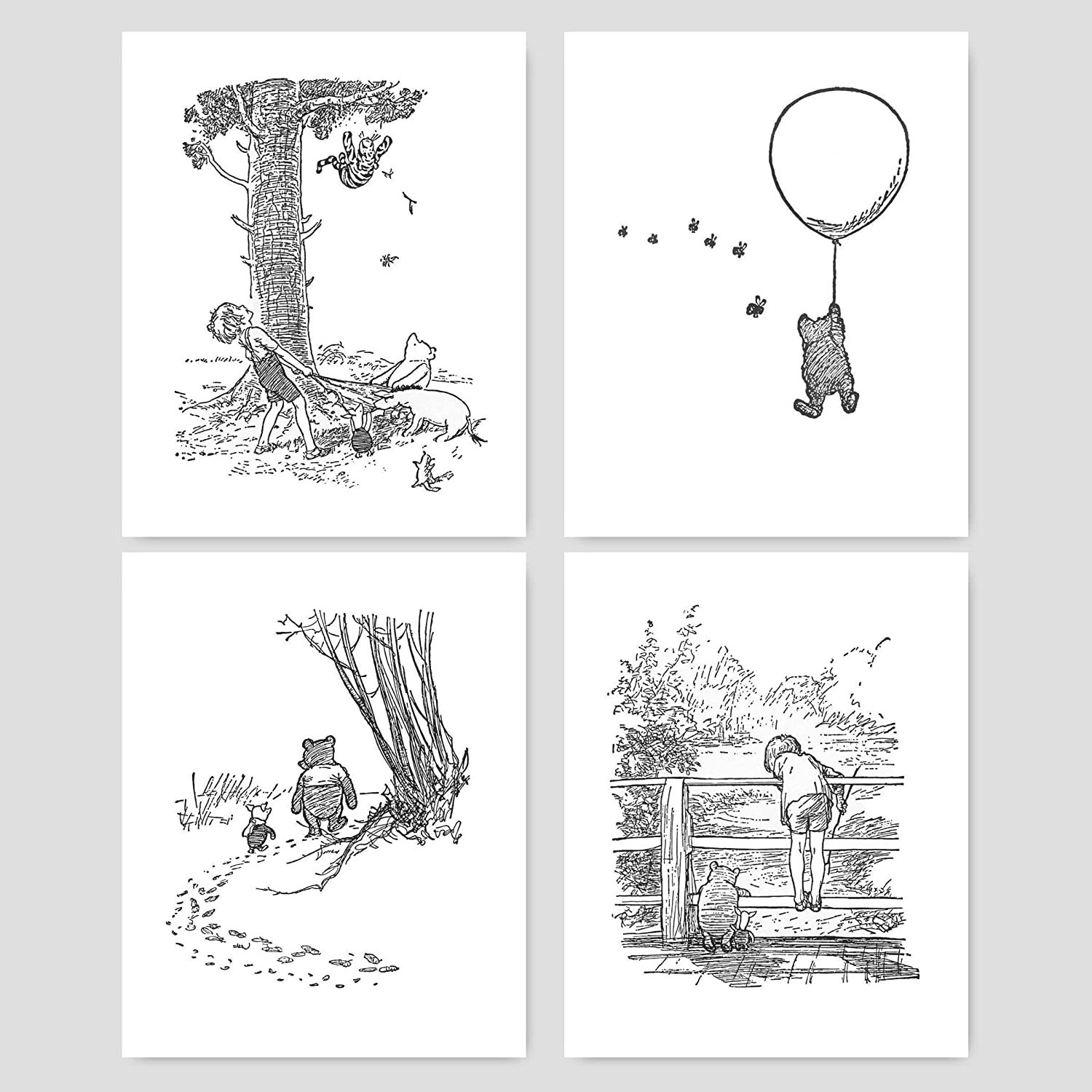 Winnie the pooh black and white nursery art baby wall prints boys girls room 8x10 unframed set of 4