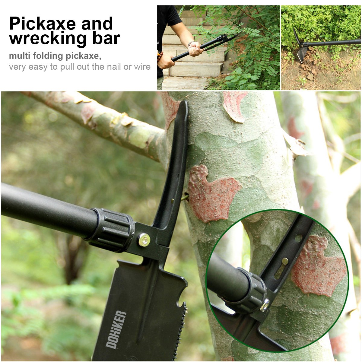 Dohiker Military Folding Shovel,Shovel Survival Spade Entrenching Tool with Carrying Pouch Metal Handle for Camping, Hiking, Trekking, Gardening,Fishing,Backpacking by Dohiker (Image #4)