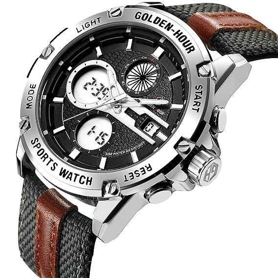 Relojes de Cuarzo Analš®gicos Digitales Deporte para Hombre para Hombres cronš®grafo Militar Reloj Impermeable (Silver-116): Amazon.es: Relojes