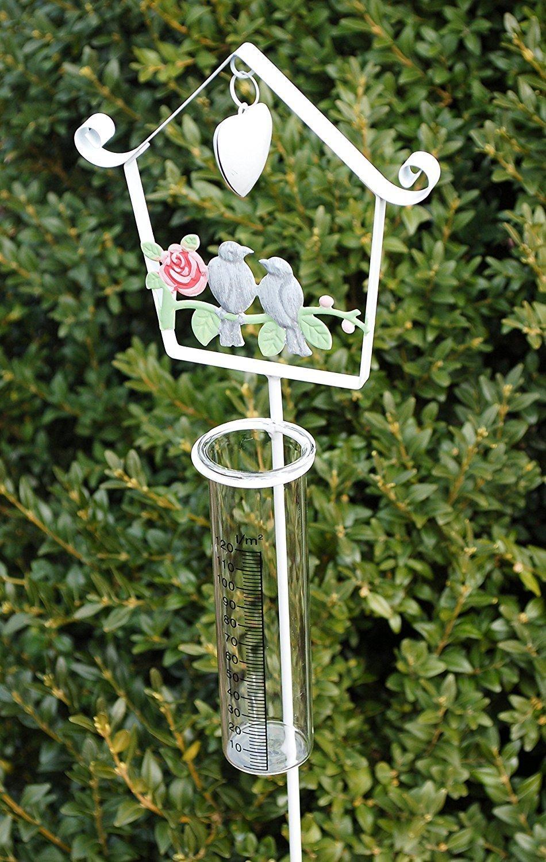 Regenmesser Beetstecker Pflanzenstecker Gartenstecker Metall Glas Weiß 105cm AmaCasa