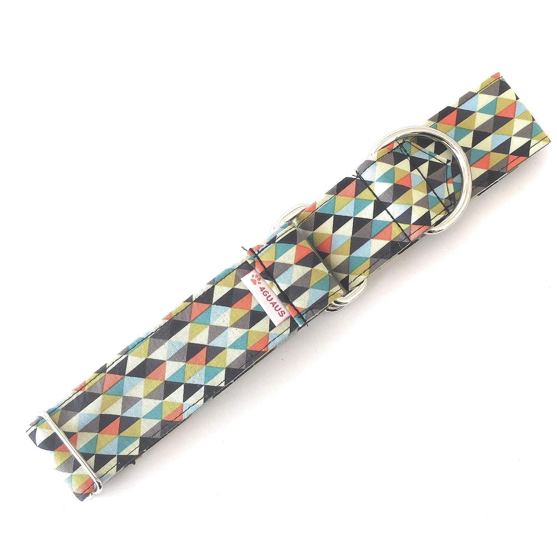 Modelo Tri/ángulos Negro y Naranja 4GUAUS Collar Martingale para Perro Hecho a mano en Espa/ña