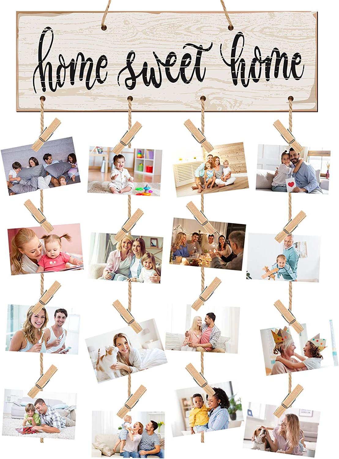 Jetec Home Sweet Home Decoration Photo Holder Home Decor Hanging Picture Holder Wedding Wooden Photo Display Hanger with 16 Pieces Clips for Rustic Home Decor Wall Home Office Room Decoration