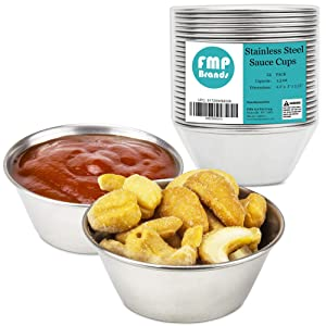 [24 Pack] 1.5 oz Stainless Steel Sauce Cups - Individual Round Condiments Ramekins, Commercial Grade Safe/Portion Dipping Sauce Kitchen Set