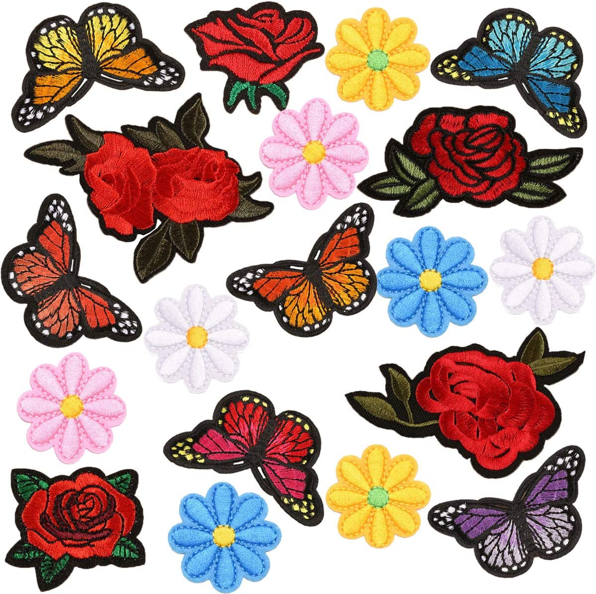 Butterflies Flower Applique With Embroidery For DIY Patch Clothes Craft Sew On
