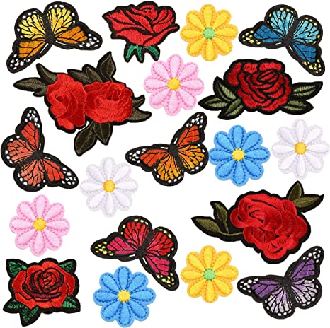 4 PCS New Butterflies Flower Applique Clothing Embroidery Patch Fabric Sticker Iron on Sew on Patch Craft Sewing Repair Embroidered