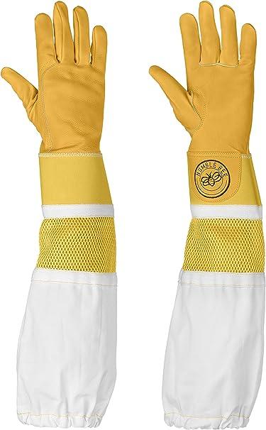 MEDIUM Beekeeper gloves beekeeping bee gloves bee protecting reinforced gloves Yellow soft Cowhide leather