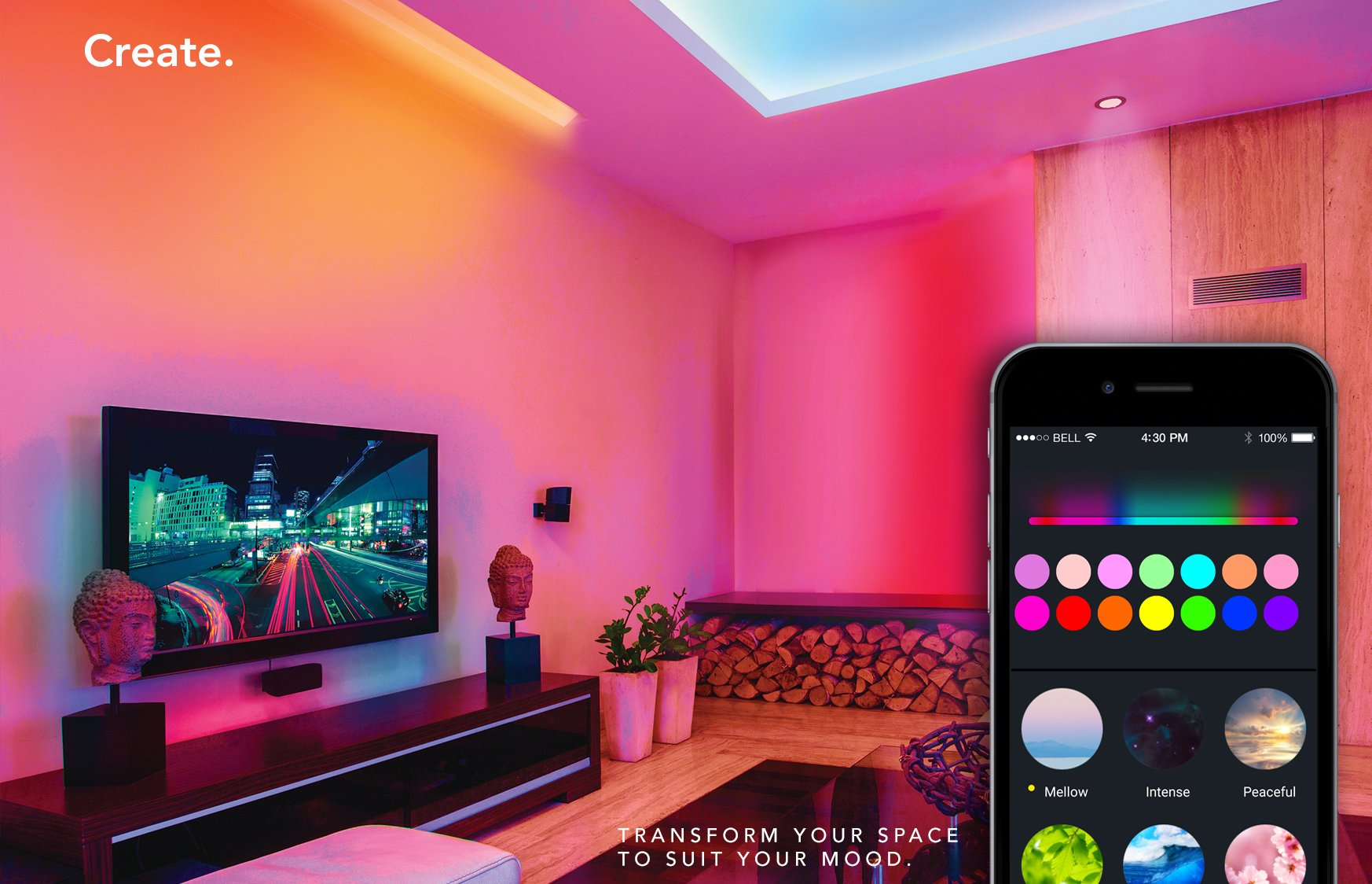 LIFX Z (Starter Kit) Wi-Fi Smart LED Light Strip (Base + 2 meters of strip), Adjustable, Multicolor, Dimmable, No Hub Required, Works with Alexa and Google Assistant by LIFX (Image #3)