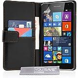 Yousave Accessories Microsoft Lumia 535 Tasche Schwarz PU Leder Brieftasche Hülle