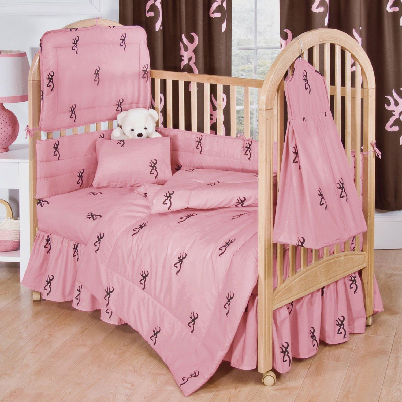 Pink Buckmark 5 Pc Crib Set & a set of 2 Valances - Entire set includes (Crib Fitted Sheet, Crib Bumper Pad, Crib Headboard Pad, Crib Comforter, Crib Diaper Stacker & set of (2) Valances) - Save Big!