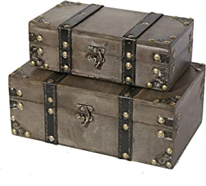Soul & Lane Westminster Wooden Storage Trunk (Set of 2)   Wood Suitcase Chest with Straps
