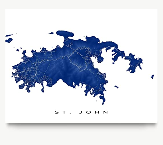 st john map art print us virgin islands usvi caribbean island artwork