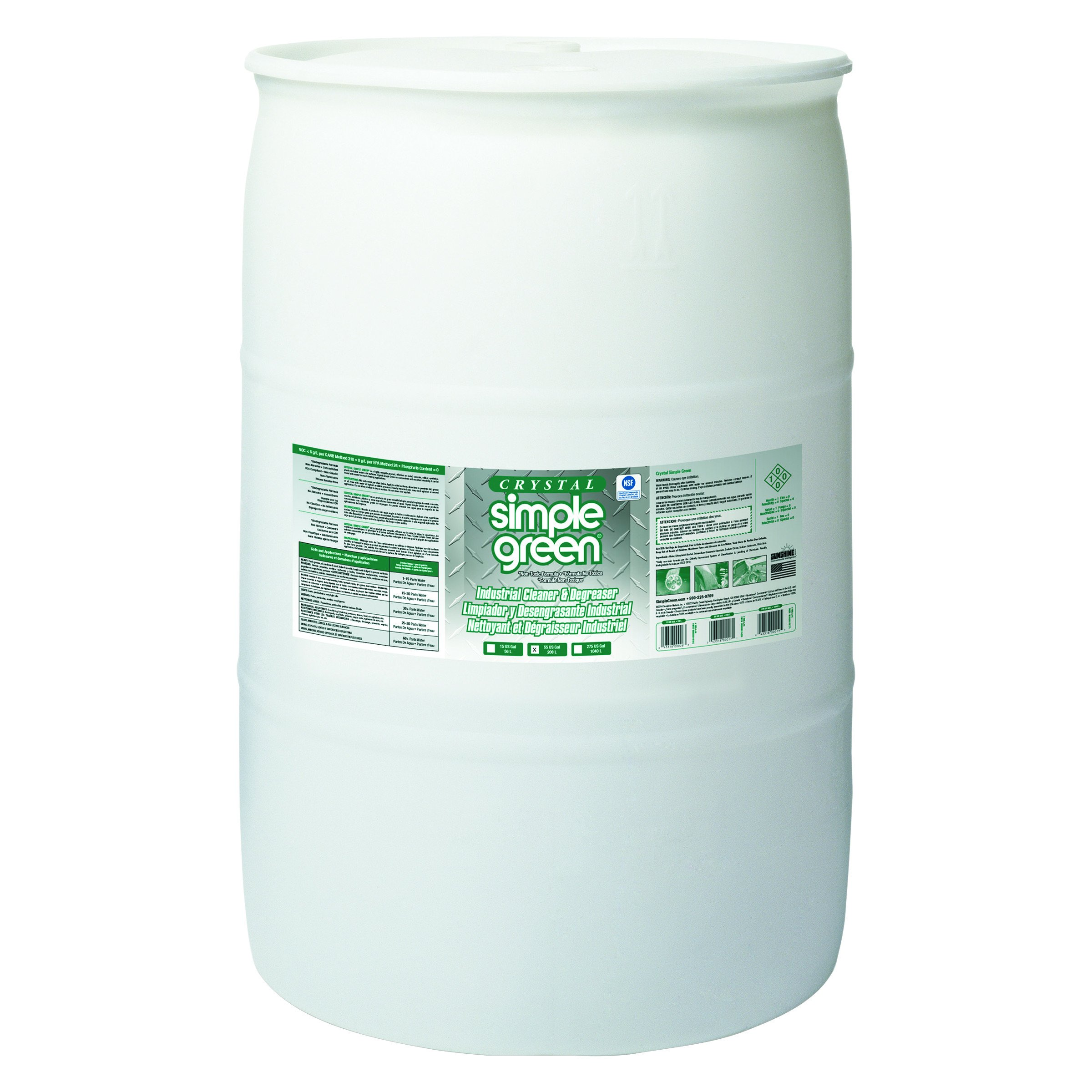 Simple Green 19055 Crystal Industrial Cleaner/Degreaser, 55 Gallon Drum