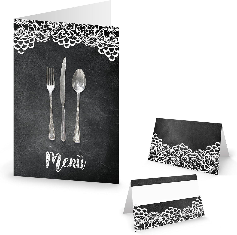 Mesa de juego: 10 tarjetas de menú + 25 mesa decorativa Tarjetas Negro Blanco Punta Cubiertos Nostalgie Vintage Look Decoración de Boda Cumpleaños inoxidable elegante: Amazon.es: Hogar