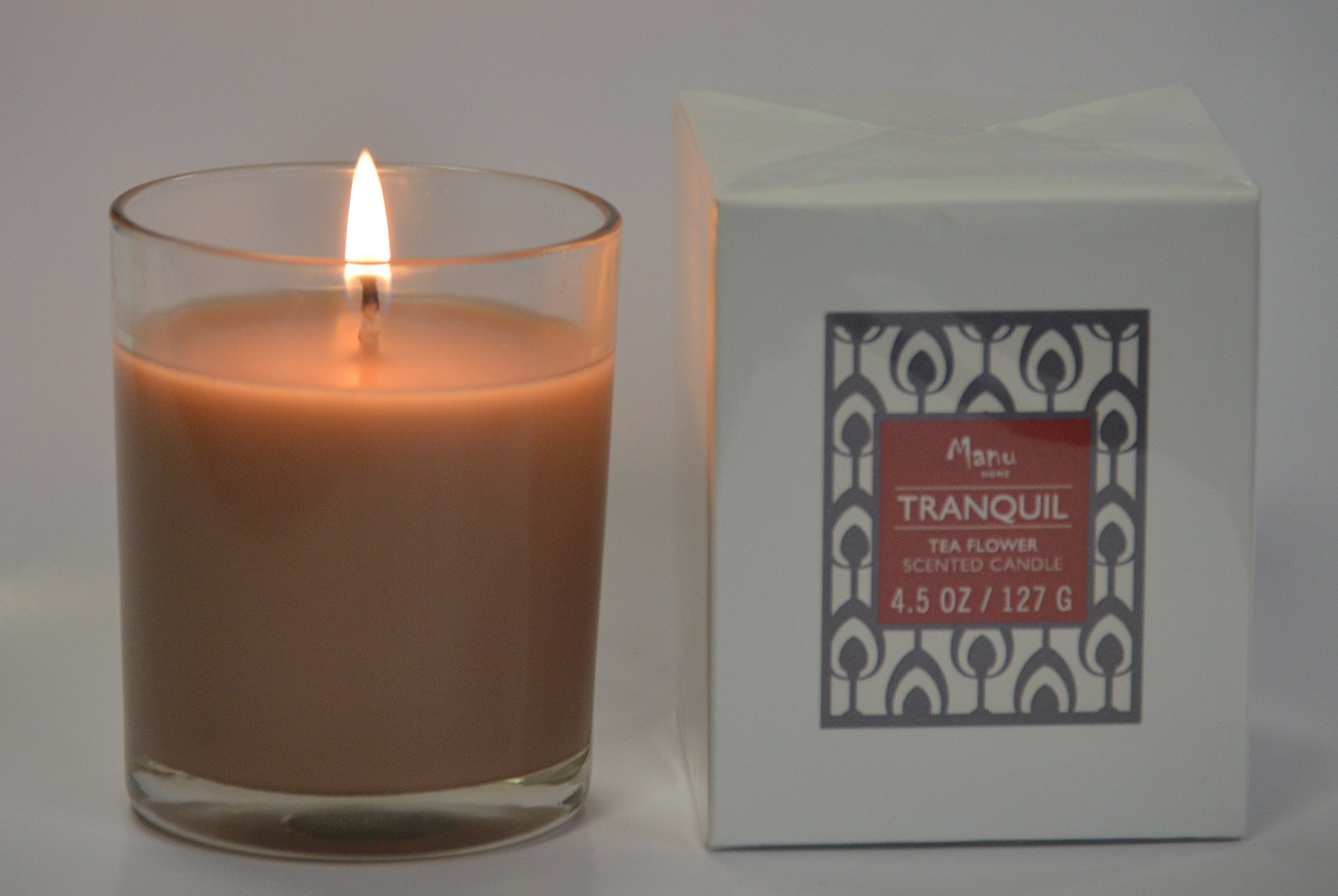 Manu Home Tranquil Scented Candle ~ Soothing Aromatherapy relaxation scent~