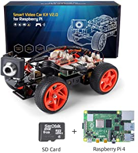 SunFounder Raspberry Pi Smart Video Robot Car Kit V2.0 Electronic Camera Toy, Graphical Visual Programming Language Supported, Remote Control by UI on Windows/Mac and Web Browser, Pi 4B Included