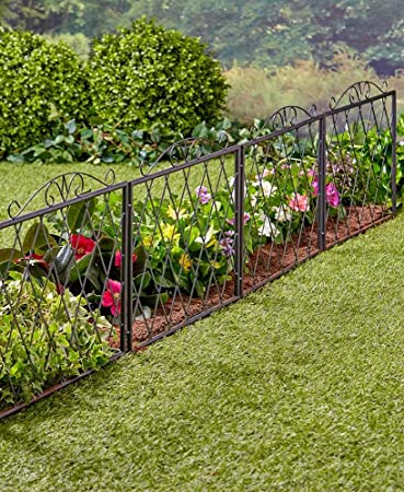 The Lakeside Collection Scrolled Metal Garden Fence Black