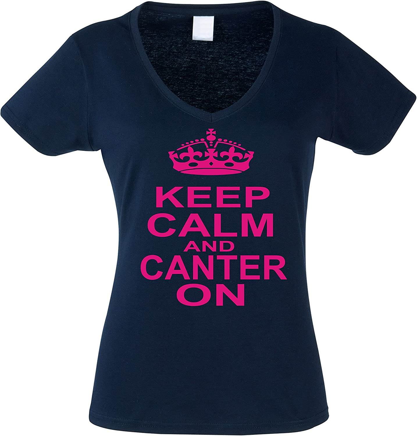 Women/'s fitted horsey t-shirt /'KEEP CALM AND CANTER ON/'