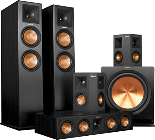 Klipsch RP-280F Home Theater System Bundle Ebony with Yamaha RX-A1050