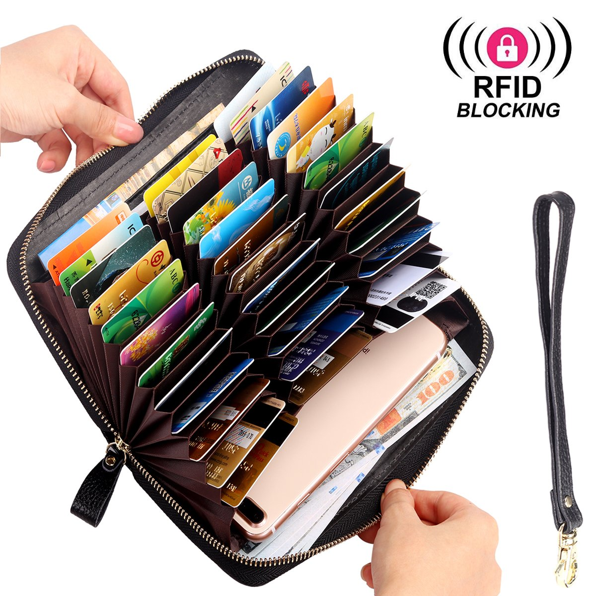 RFID Blocking Wallet Long Zip Around Anti Theft Purse, 36 Slots Large Capacity for Credit Card, Passport, Cell phone … (Embossed Black)