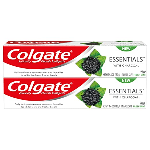 Colgate Essentials Charcoal Teeth Whitening Toothpaste, 4.6 Ounce, (2 Pack) by Colgate
