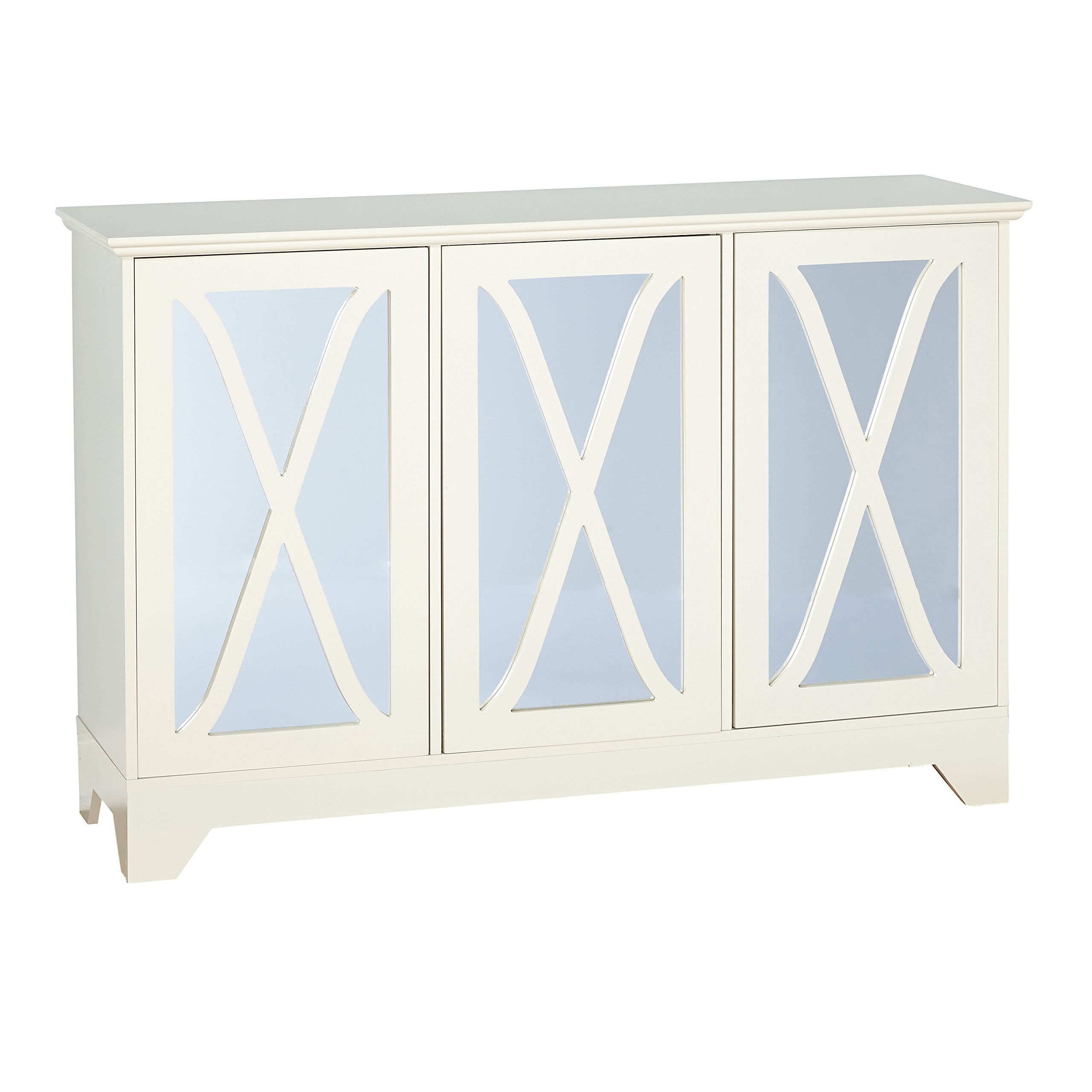 Target Marketing Systems 31552AWH Reflections Buffet/Console with Mirror, White