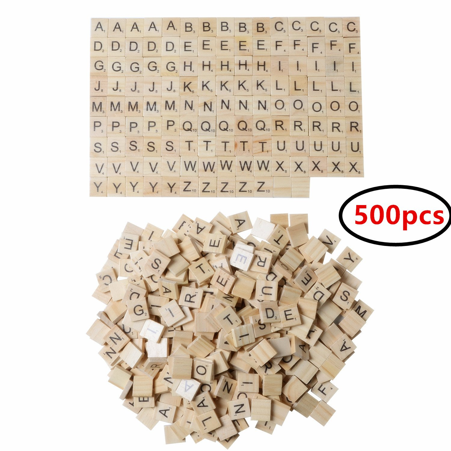 XADP 500 Wooded Scrabble Tiles Letter Tiles Wood Pieces-5 Full Sets of 100 Letters-Great for Crafts, Pendants, Spelling
