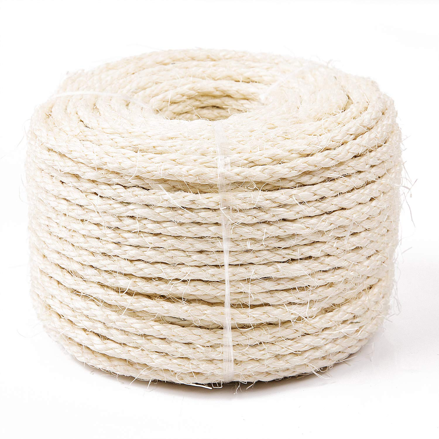 Hemp Rope for Repairing Recovering or DIY Scratcher 6mm Diameter Yangbaga Cat Natural Sisal Rope for Scratching Post Tree Replacement Come with a Sisal Ball