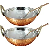 Handmade 34 OZ Hammered Style Copper Stainless Steel Serving Bowl with Spoon for Ice Cream, Soup, Noodles, Salad, Cereal, Set of 2 Bowls and 2 Spoons, Heat Insulated Double Walled Bowls, 7.1 Inch
