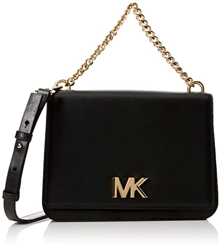 bb3d61bb2d90 Michael Kors Mott Leather Crossbody, Women's Cross-Body Bag, Black, 7x17x22.